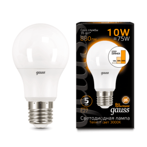 102502110 s 300x300 - Лампа Gauss LED A60 10W E27 2700K step dimmable