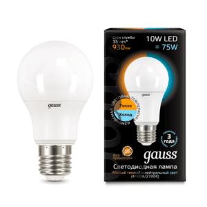 102502110 t 300x300 - Лампа Gauss LED A60 10W E27 2700K/4100K CTC