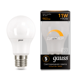 102502111 d 1 300x300 - Лампа Gauss LED A60-dim E27 11W 3000К диммируемая