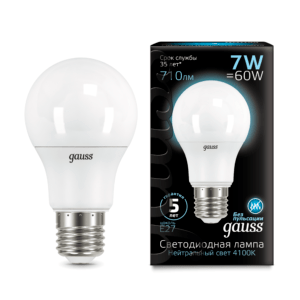 102502207 300x300 - Лампа Gauss LED A60 E27 7W 4100K