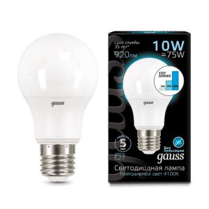 Лампа Gauss LED A60 10W E27 4100K step dimmable