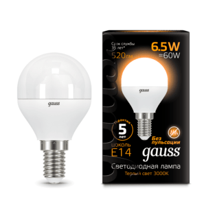 105101107 300x300 - Лампа Gauss LED Globe E14 6.5W 2700K