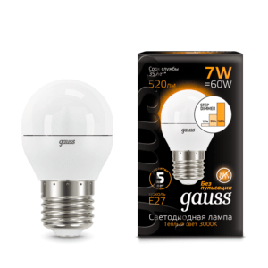 105102107 s 300x300 - Лампа Gauss LED Globe E27 7W 3000K step dimmable