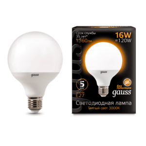 105102116 300x300 - Лампа Gauss LED G95 E27 16W 3000K