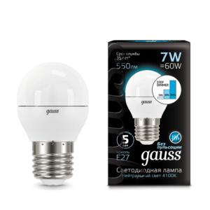 105102207 s 300x300 - Лампа Gauss LED Globe E27 7W 4100K step dimmable