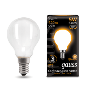Лампа Gauss LED Filament Candle OPAL E14 5W 4100К