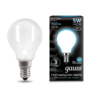 105201205 300x300 - Лампа Gauss LED Filament Globe OPAL E14 5W 4100K
