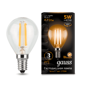 105801105 300x300 - Лампа Gauss LED Filament Globe E14 5W 2700K