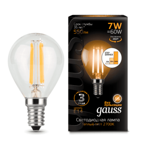 Лампа Gauss LED Filament Candle E14 7W 4100К step dimmable