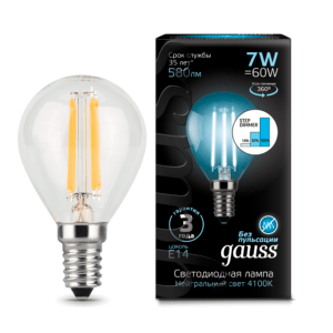 105801207 s 300x300 - Лампа Gauss LED Filament Globe E14 7W 4100K step dimmable