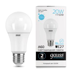 Лампа Gauss LED Elementary A60 20W E27 6500K