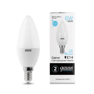 33136 300x300 - Лампа Gauss LED Elementary Candle 6W E14 6500K