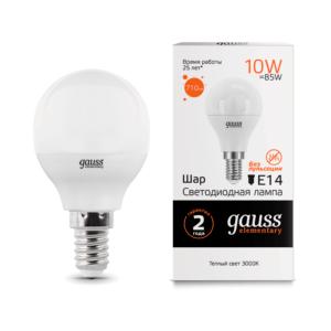 53110 300x300 - Лампа Gauss LED Elementary Globe 10W E14 3000K