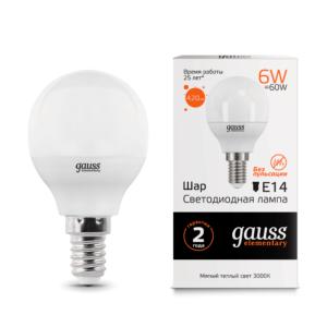 53116 300x300 - Лампа Gauss LED Elementary Globe 6W E14 3000K