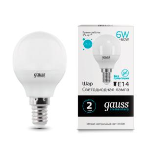 53126 300x300 - Лампа Gauss LED Elementary Globe 6W E14 4100K