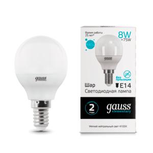 53128 300x300 - Лампа Gauss LED Elementary Globe 8W E14 4100K